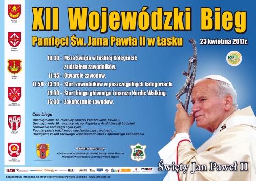 Plakat zaproszenia na XII Bieg Papieski